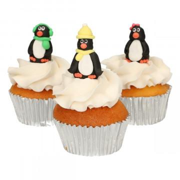 Pack de 3 Decoraciones de azúcar Pingüinos Funcakes