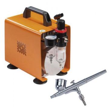 Kit de aerógrafo mayor capacidad con compresor de 2.5 bar Martellato