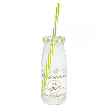 Botella con pajita Lily Petit White Green Gate