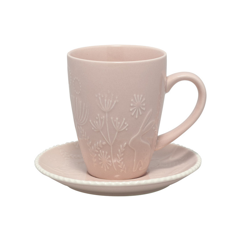 Taza + plato Evy Pale Pink Green Gate