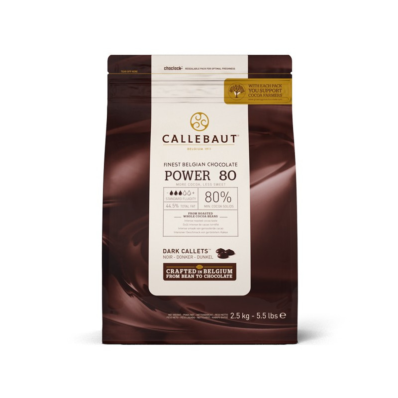 Chocolate negro 80% Power 80 en grageas 2.5 kg Callebaut