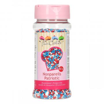 Sprinkles Nonpareils Azul-blanco- rojo Mini perlitas Funcakes