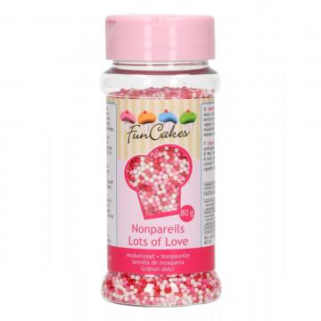 Sprinkles Nonpareils Rojo Rosa y Blanco Mini Perlitas Funcakes