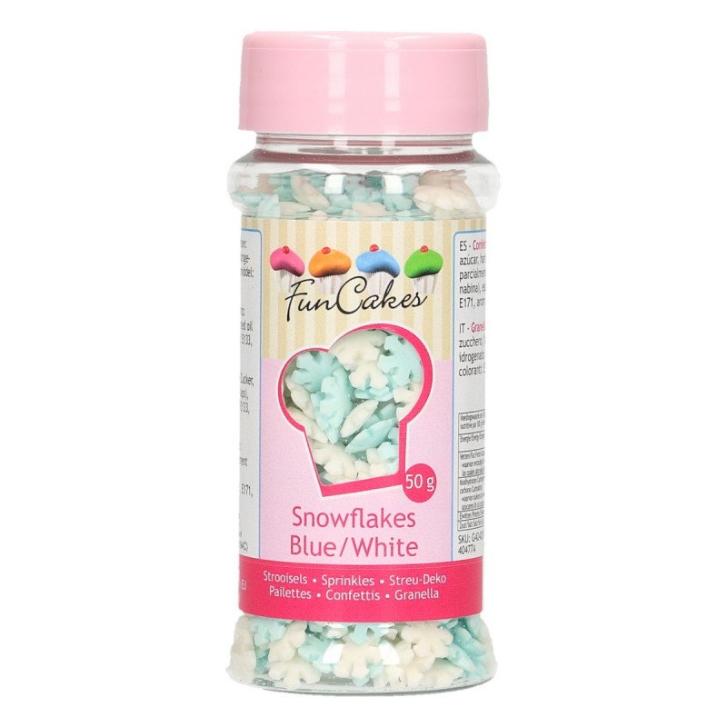 Sprinkles copos de nieve celeste y blanco Funcakes
