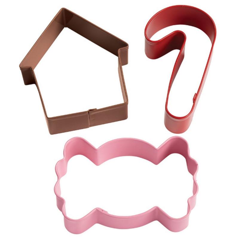 Pack de 3 cortantes: Casa, Caramelo y Bastón Wilton