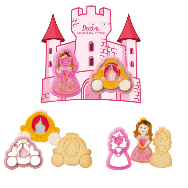 Pack de 2 cortantes Princesa y Carroza Decora Italia