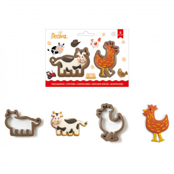 Pack de 2 cortantes Vaca y Gallina Decora Italia