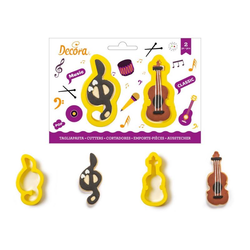 Pack de 2 cortantes Violín y Nota musical Decora Italia