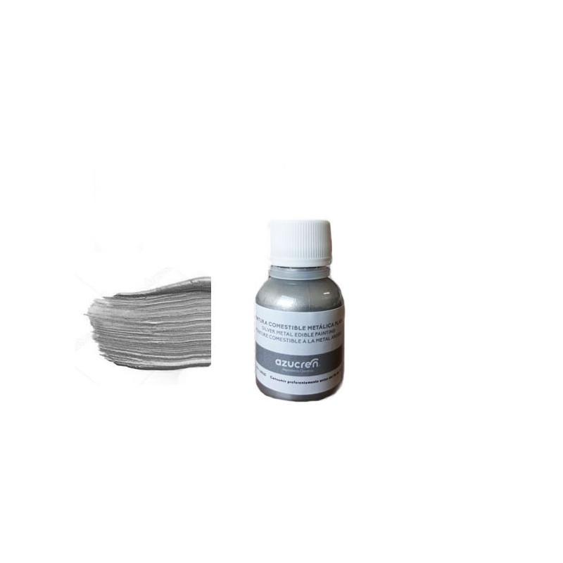 Pintura comestible Metalizada Plata 25 ml Azucren