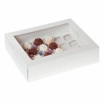 Caja para 24 mini cupcakes blanca con ventana
