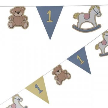 Banderola Guirnalda primer cumpleaños Azul Fiesta Bebe