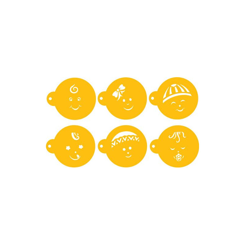 Stencils Caritas de Bebe Cupcakes / Cookies