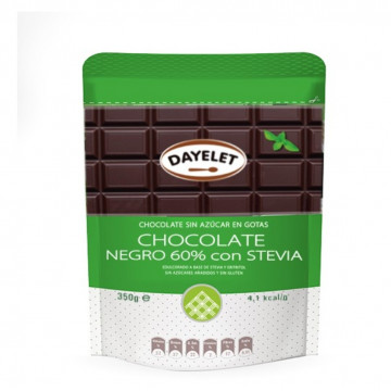Chocolate negro 60% con Stevia 350 gr Dayelet