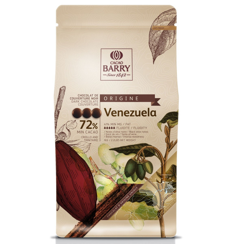 Chocolate negro al 72% Origen Venezuela Cacao Barry