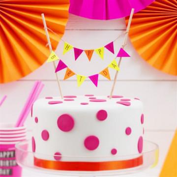Topper para tarta Happy Birthday Colores Neón