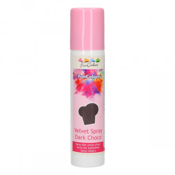 Spray efecto Terciopelo Chocolate Negro 100 ml Funcakes