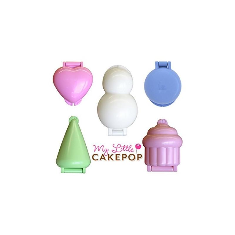 Pack de 5 Moldes para CakePops: Muñeco, Cono, Bola, Cupcake y Corazón