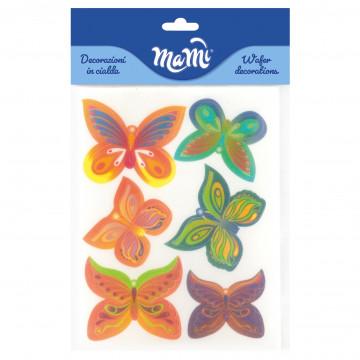 Pack 6 Mariposas de papel de azúcar Tonos Cálidos Modecor