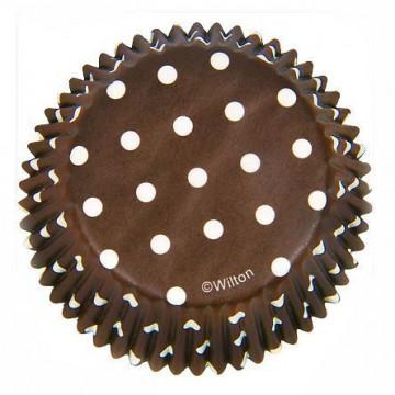 Capsulas cupcakes Dots Brown Marrón Wilton