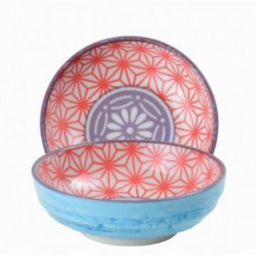 Bol de cerámica mini azul, coral y violeta Star Wave