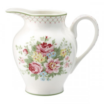 Lechera de cerámica pequeña Aurelia White Green Gate