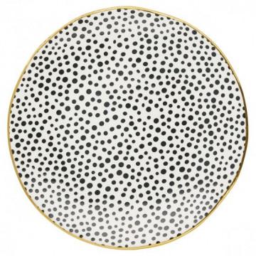 Plato de cerámica 26 cm Dot Black con borde oro Green Gate