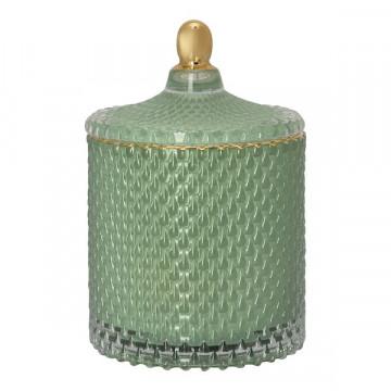 Bote de cristal con tapa labrado verde Green Gate