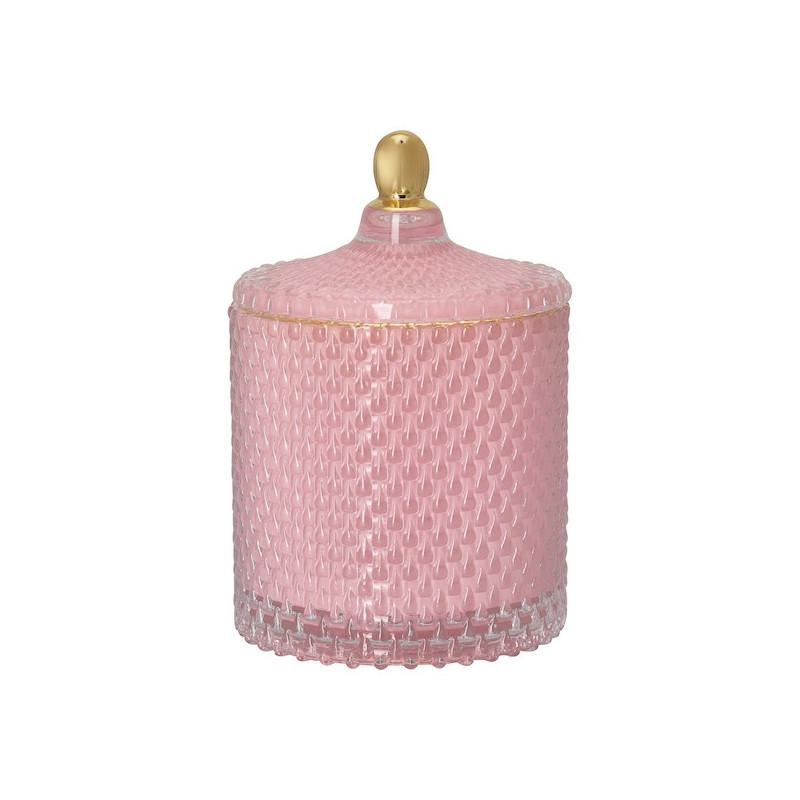 Bote de cristal con tapa labrado rosa Green Gate