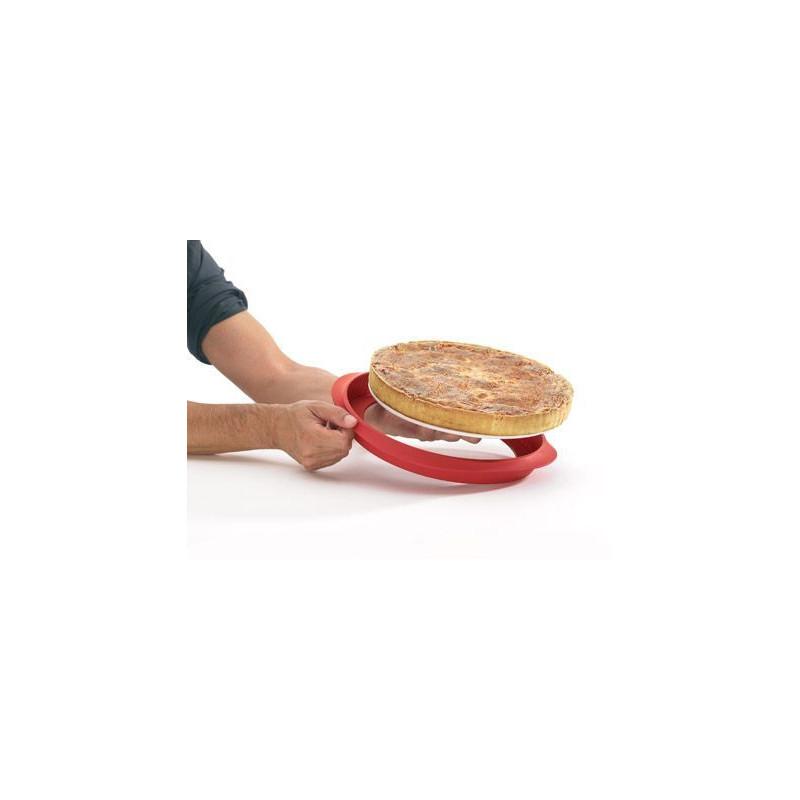 Molde redondo de Quiche 28 cm : silicona con plato de ceramica Rojo Lékué