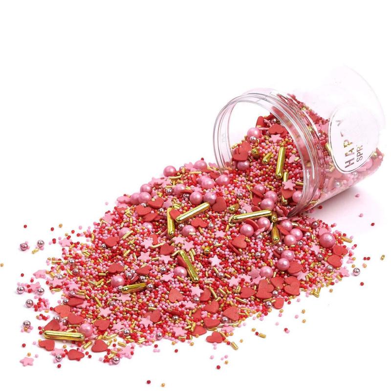 Sprinkles Rosa, Rojo, Plata y Oro Head over Heels 90 gr Happy Sprinkles