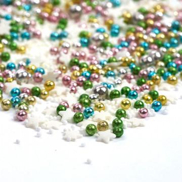 Sprinkles Azul, Verde, Rosa, Blanco Oro y Plata Magical Fireworks 90 gr Happy Sprinkles