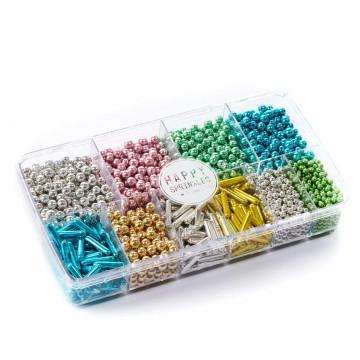 Caja de Sprinkles Perlas y Palitos Multicolor 300 gr Pure Metallics Happy Sprinkles