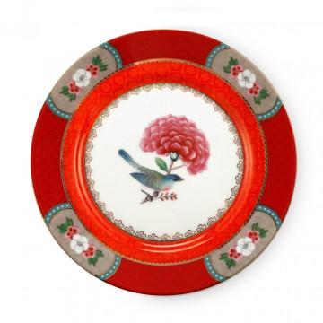Plato de cerámica 17 cm Rojo Blushing Birds