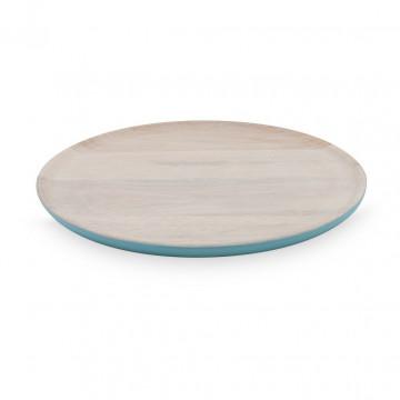 Plato de madera 30 cm Blanco y Azul Pip Studio