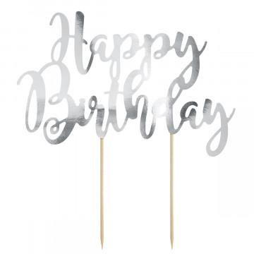 Topper para tartas Plata Happy Birthday