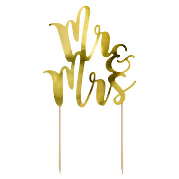 Topper para tartas Oro Mr & Mrs