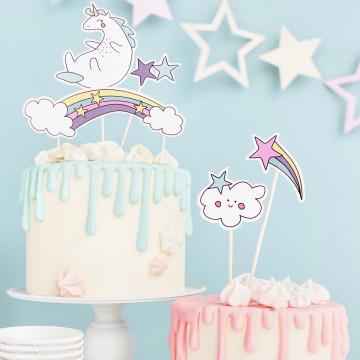 Pack de 5 Toppers para tartas Unicornio