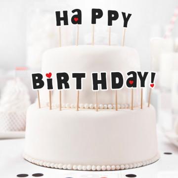 Pack de 14 toppers letras Happy Birthday