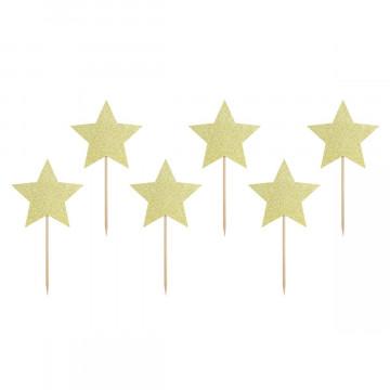 Pack 6 Toppers Estrella Oro