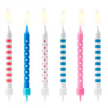 Pack de 6 Velas de cumpleaños de Lunares y Rayas