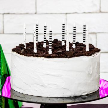 Pack de 6 Velas de cumpleaños de Lunares y Rayas Negro y Blanco