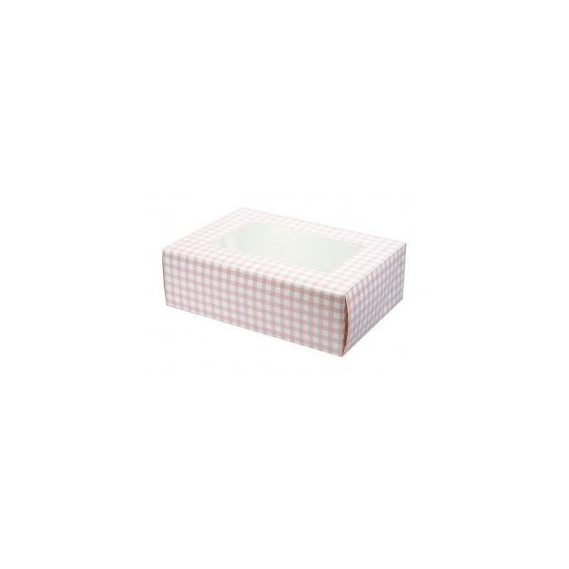 Caja 6 cupcakes Vichy rosa