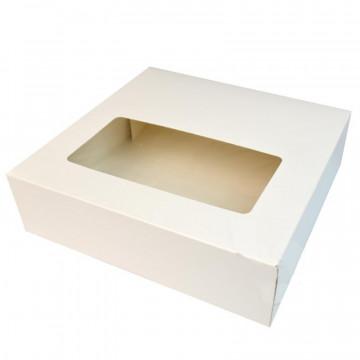 Caja de Roscón de Reyes Blanca con ventana 33 cm