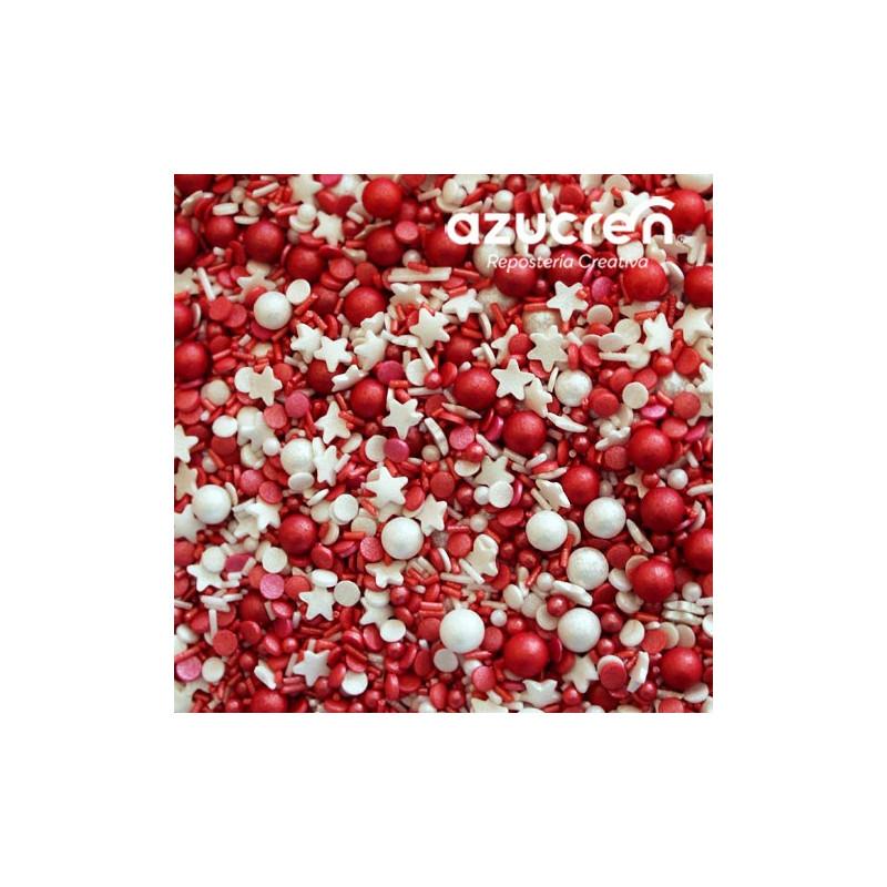 Sprinkles Perlas Confeti Estrellas Rojas Papa Noel 90 gr Azucren