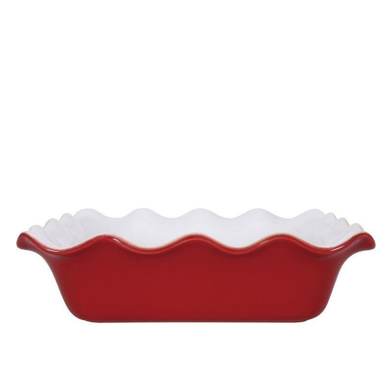 Molde cuadrado de ceramica Ondulado Blanco y Rojo Émily Henry