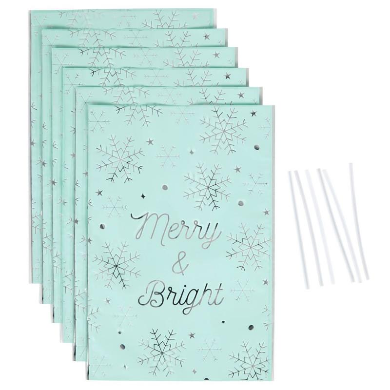 Pack de 6 bolsas metalizadas Dulces Merry and Bright Wilton