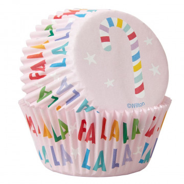 Cápsulas de cupcake Rosa Fa La La Navidad Wilton