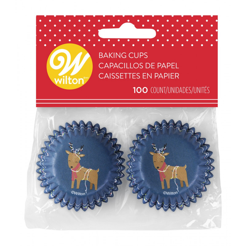 Cápsulas de mini cupcake Azul Reno Navidad Wilton