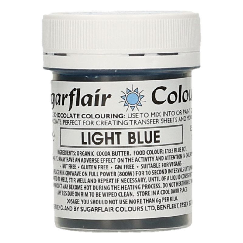 Colorante liposoluble para chocolate Azul Claro 35 gr Sugarflair