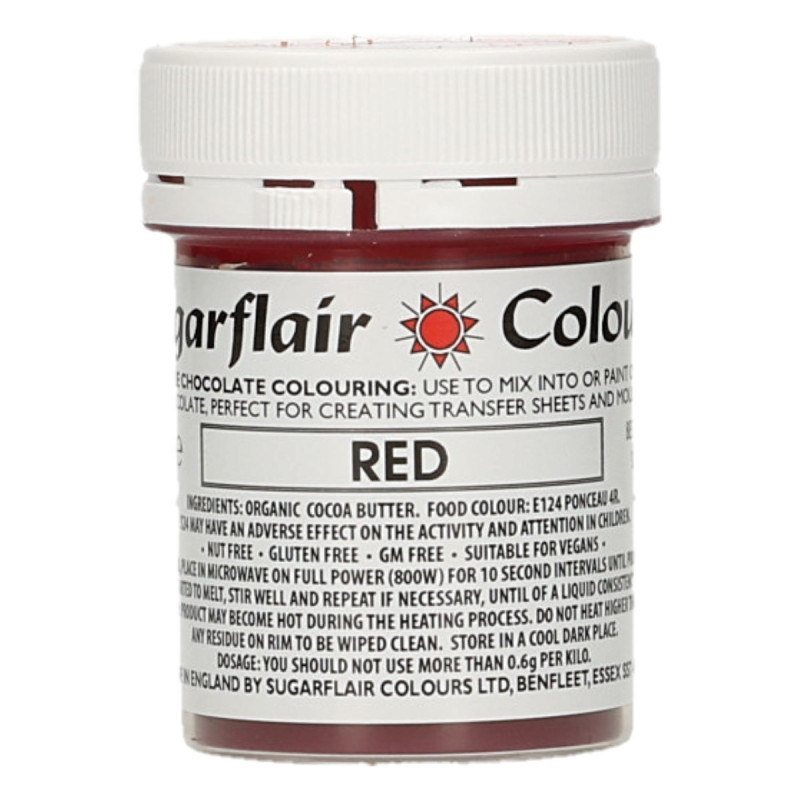 Colorante liposoluble para chocolate Rojo 35 gr Sugarflair